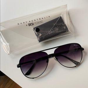 DESI x Quay High Key Fade Aviator Sunglasses